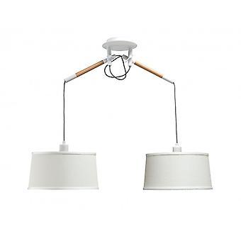 Mantra Nordica hänge med vit nyans 2 ljus E27, Matt vit/bok med elfenben vita nyanser