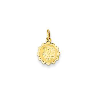 14 k gul guld Solid poleret pige hoved på.009 Gauge Engraveable flosset Disc charme -.2 gram
