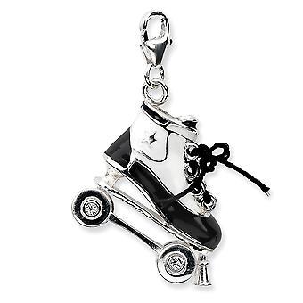 925 Sterling Silver Rörlig Rodium pläterad 3 d Enameled Roller Skatew Lobster Clasp Charm Hängande Halsband Åtgärder 30x