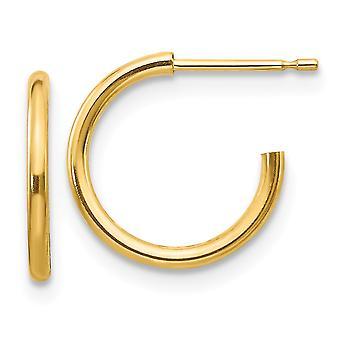 14k sárga arany polírozott karika csavar backback fiúknak vagy lányoknak Fülbevaló intézkedések 11x11mm