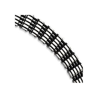 Stainless Steel Polished Fold-over Black Rubber Bracelet - 8.75 Inch