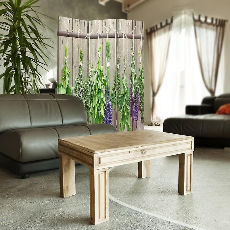 Diviseur de chambre, 3 panneaux, unilatéral, toile, herbes