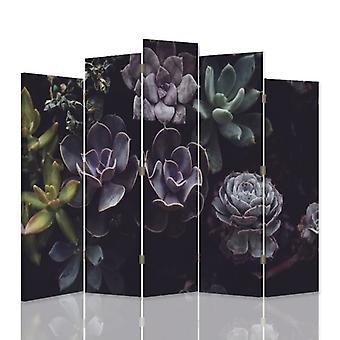 Divisor de habitación decorativa, 5 paneles, lienzo, jardín de cactus