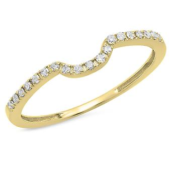 Dazzlingrock Collection 0.11 Carat (ctw) 14K Round White Diamond Ladies Anniversary Band Guard Ring, Yellow Gold