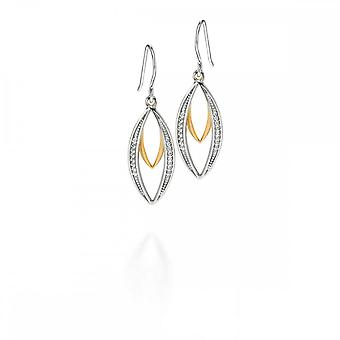 Fiorelli Silver Gold Double Marquise Dangly Earrings Cubic Zirconia E4678C