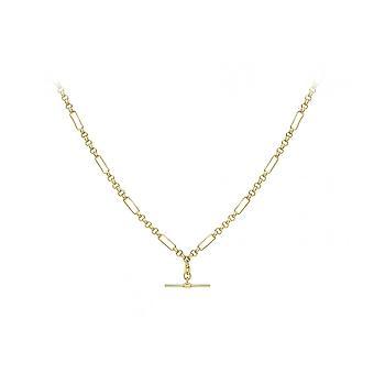 Eeuwigheid 9ct Gouden Dames 18 ' ' holle Figaro Belcher ketting & T-bar