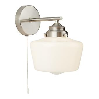 Searchlight School House 1 Light Wall Light Satin Argento, Bianco IP44 8708-1SS