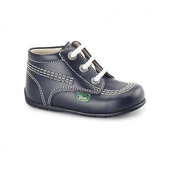 Kickers Kick Hi Babies Leather Boots Navy