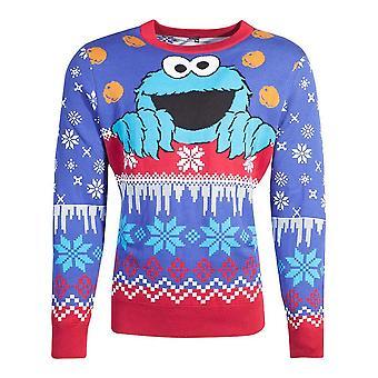 Sesame Street Cookie Monster Knitted Christmas Sweater Unisex Medium