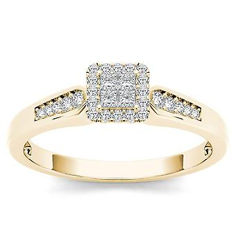 IGI Certified 10k yellow Gold 0.23 Ct Princess Cut Diamond Halo Engagement Ring
