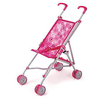 Doll buggy, doll's car S9302 pink, pink with double wheels, sliding height 51 cm