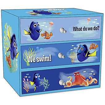 Finding Dory jewelry box Dorie and friends blue, printed, made of cardboard, with 3 drawers.