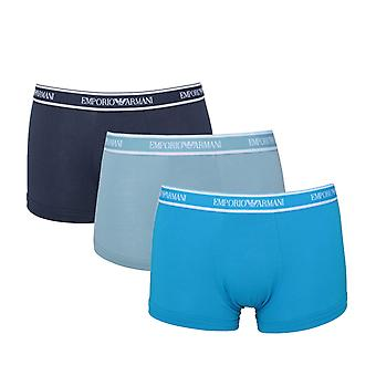 Emporio Armani 3 Pack Navy, Blue & Gunmetal Blue Logo Trunks