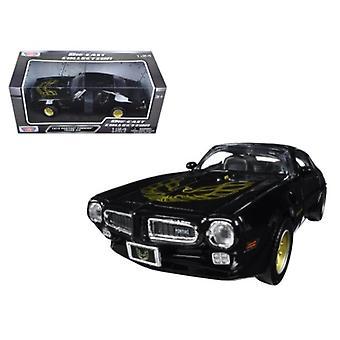 1973 Pontiac Firebird Trans Am Black with Gold Wheels 1/24 Diecast Model Car by Motormax
