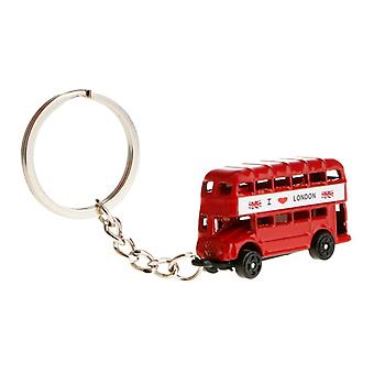 Metal London Souvenir Keychain Keyring with 3D Red Bus Gifting Accessory