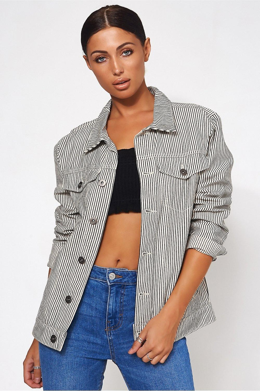Black & White Stripe Denim Jacket