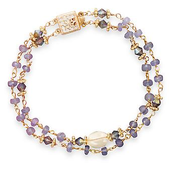 Double Strand Gld Flashed Ste. Silver Tanzanite Bead Chain Bracelet 8mm X 10mm Oval Citrine 7 Inch Jewelry Gifts for Wom