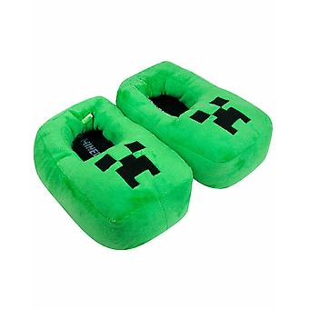 Minecraft Creeper Kids/Boy's 3D Green Plush Novelty Slipper Footwear