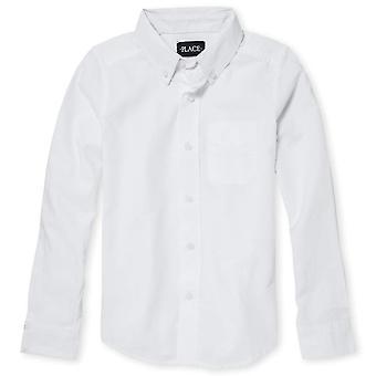 The Children's Place Big Boys' Long Sleeve Uniform, White 5063, Size Medium/7/8
