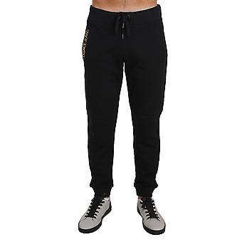 Versace Jeans Side Logo Training Sport Gym Black Cotton Trousers