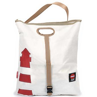 360 Degree Shopper Tender White Lighthouse Red with Strap Grey Canvas Bag
