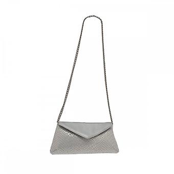 Sabrina Chic White Fold Over Clutch With Chain