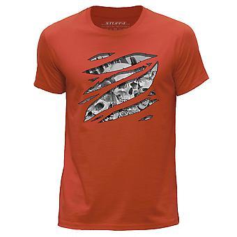 STUFF4 Men's Round Neck T-Shirt/Large Rip/Skull Art/Sketch/Orange