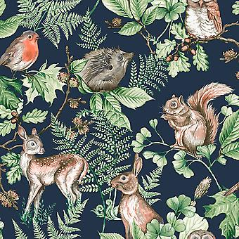 Woodland Animals Wallpaper Navy Graham and Brown 108568