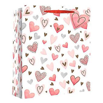 Eurowrap Scattered Hearts Gift Bags (Pack of 12)