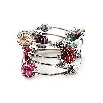 Silver Tone Beaded Multistrand Flex Bracelet - Multicoloured