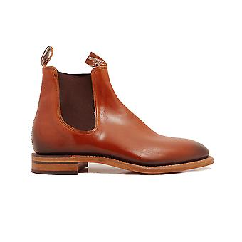 RM Williams Chinchilla Cognac Brown Leather Mens Pull On Chelsea Boots