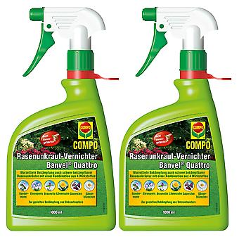 Sparsomme: 2 x COMPO Lawn Weed Killer Banvel® Quattro AF, 1000 ml