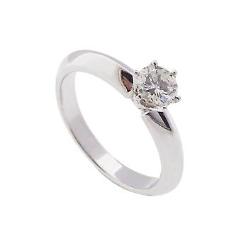 White gold ring with solitary brilliant cut diamond