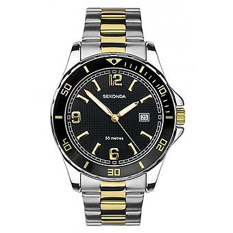 Sekonda Mens Ronde Zwarte Wijzerplaat 2 Kleuren armband Horloge 1581