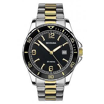 Sekonda Mens Round Black Dial 2 Colour Bracelet Watch 1581