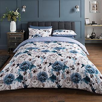 Inky Floral Blue Bedding Set - Super King