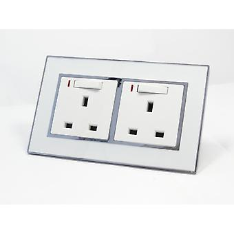 I LumoS AS Luxury White Mirror Glass Double Switched with Neon Wall Plug 13A UK Sockets