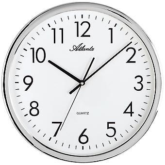 Atlanta 4317 Wall clock Quartz analog silver round quiet without ticking