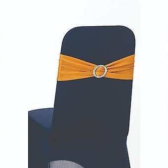 Gold Plain Stretchable Spandex Chair Sashes With Round Diamante Buckles