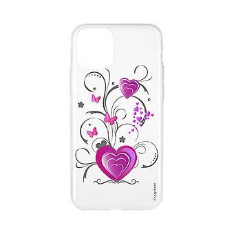 Case voor iPhone 11 flexibel patroon hart en vlinder