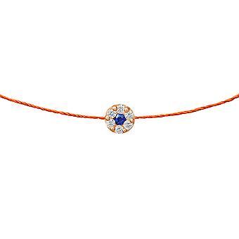 Choker Duchess Sapphire 18K Goud en Diamanten, op Thread - Rose Gold, NeonOrange
