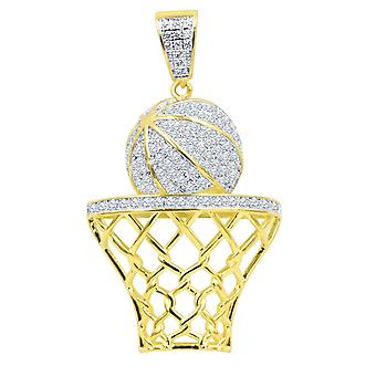 925 sterlinghopea Micro Pave riipus koripallo kori kultaa