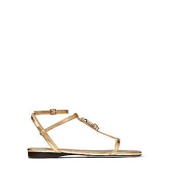 Jimmy Choo Alodieflatmnagold Kvinder's Guld Læder Sandaler