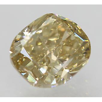 Cert 1.01 Carat Brown Yellow VVS2 Cushion Natural Loose Diamond 6.18x5.43mm 2VG
