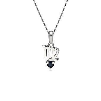 Saphir Jungfrau Sternzeichen Charm Halskette in 9ct Weißgold 162P0239019