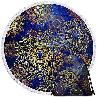 Keltainen tähti mandalas Ober sininen ranta pyyhe