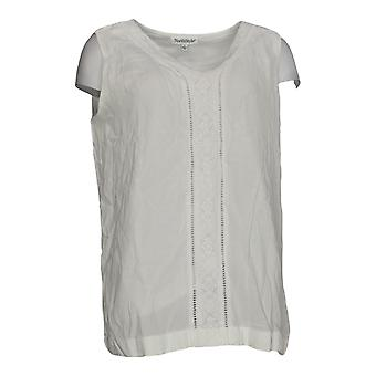 NorthStyle Women's Top Embellished Layered V Neck Tank White