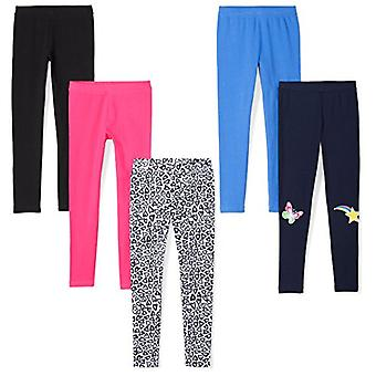 Marca - Spotted Zebra Girls' Big Kid 5-Pack Leggings, Hearts, Medium (8)