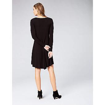 Brand - Daily Ritual Women's Jersey Long-Sleeve V-Neck Dress, Black, Small