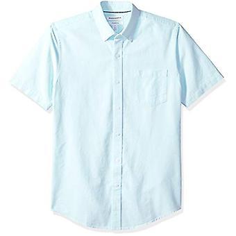 Essentials Men's Slim-Fit Short-Sleeve Pocket Oxford Shirt, Aqua, Large